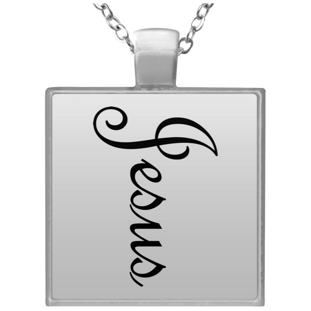 "Square Silver Plated Necklace ""Jesus"""