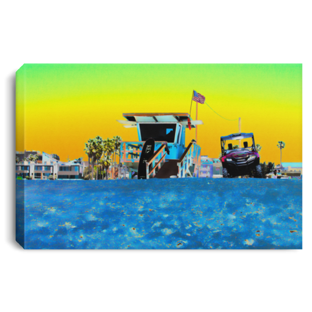 "Canvas Print ""Lifeguard Tower""  (High contrast theme)"
