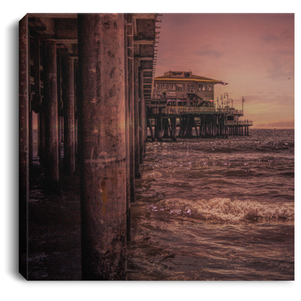 Canvas Print Square Beach Pier Scene White / 8 x 8 Canvas Print (1962917593188)