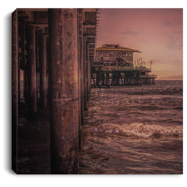 Canvas Print Square Beach Pier Scene White / 8 x 8 Canvas Print