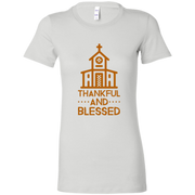 "6004 Bella + Canvas Ladies' Favorite T-Shirt ""Thankful and Blessed"" 10 Colors 5 Sizes"
