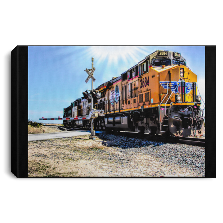 Canvas Print Portrait of a Train Black / 12 x 8 Canvas Print