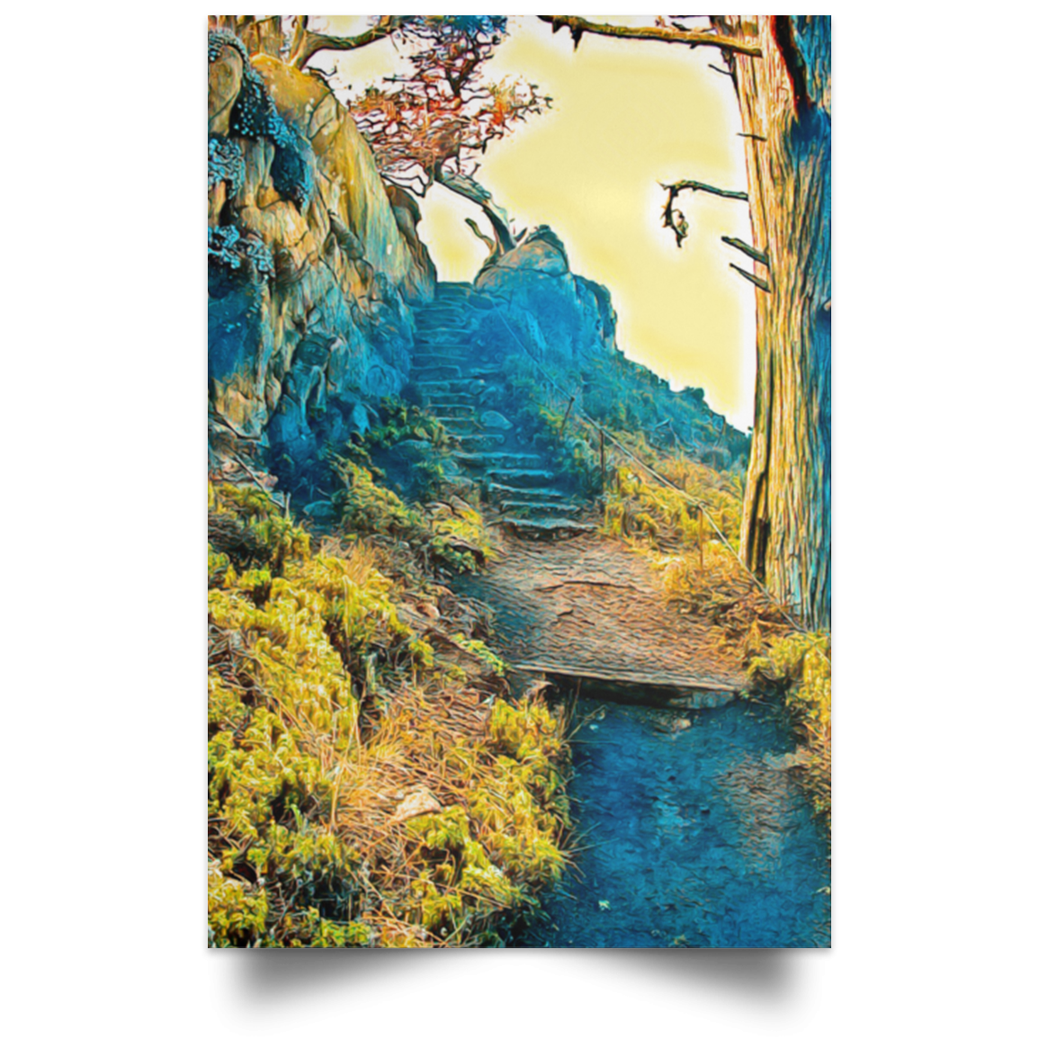 Satin Poster Stairway to the Sky White / 12 x 18 Poster (2151577944164)