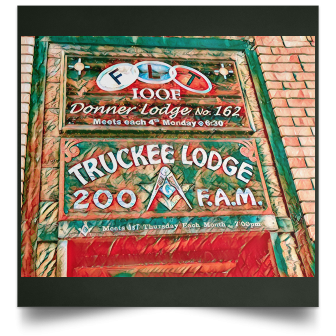 Satin Poster Square Truckee Lodge (Green theme) Forest / 16 x 16 Poster (2177344471140)