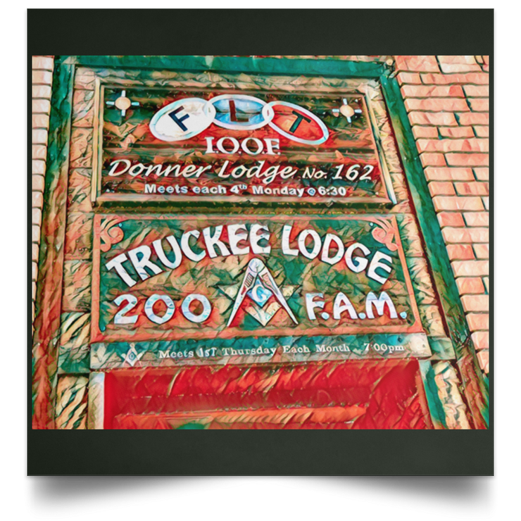"Satin Poster Square ""Truckee Lodge"" (Green theme)"