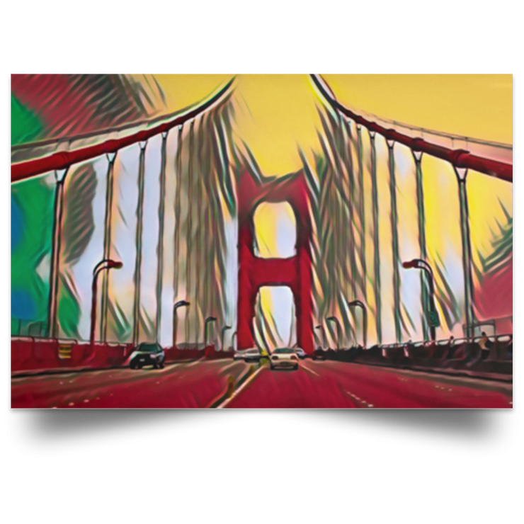 Satin Poster Digital Art Golden Gate Bridge (Red theme) White / 18 x 12 Poster (2103278764132)