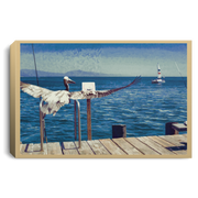 Canvas Print The Pelican and the Sailboat Tan / 12 x 8 Canvas Print