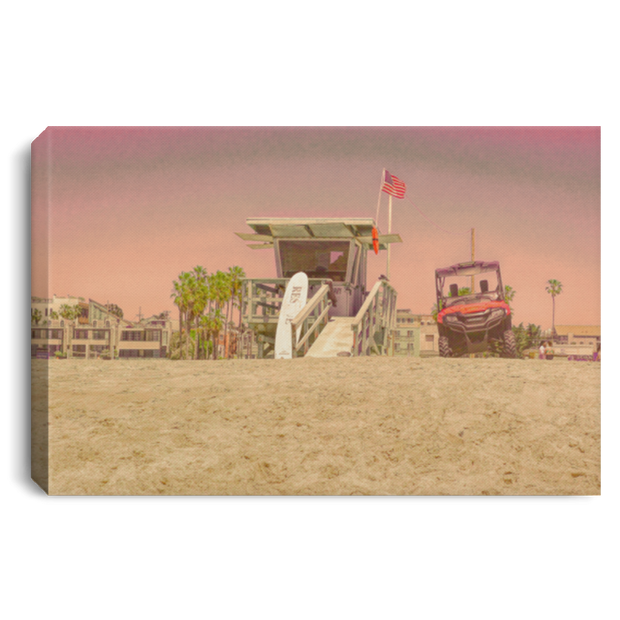 "Canvas Print ""Lifeguard Tower""  (Pink theme)"