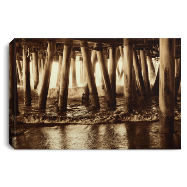 Canvas Print Under the Pier 2 (Sepia) White / 12 x 8 Canvas Print (1963057545316)