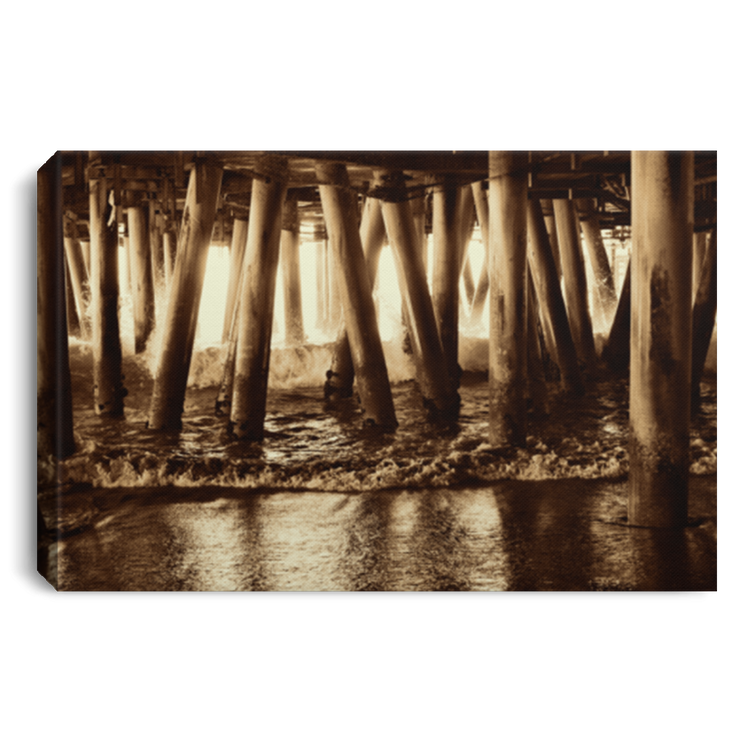 Canvas Print Under the Pier 2 (Sepia) White / 12 x 8 Canvas Print