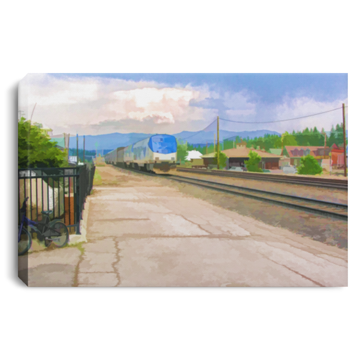 Canvas Print Train Station White / 12 x 8 Canvas Print (2536976089188)