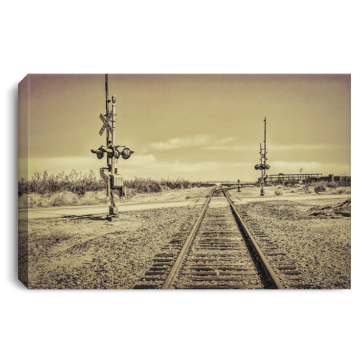 Canvas Print Desert Railway Crossing White / 12 x 8 Canvas Print