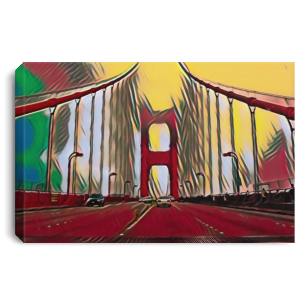 Canvas Print Digital Art Golden Gate Bridge (Red Theme) White / 12 x 8 Canvas Print
