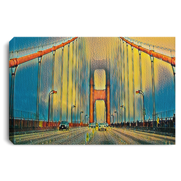 Canvas Print Digital Art Golden Gate Bridge (Yellow theme) White / 12 x 8 Canvas Print