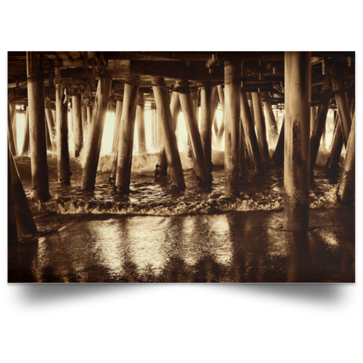 Satin Poster Under the Pier 2 (Sepia) White / 18 x 12 Poster
