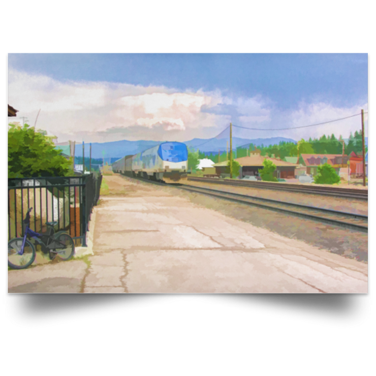 Satin Poster Train Station White / 18 x 12 Poster (2536980512868)