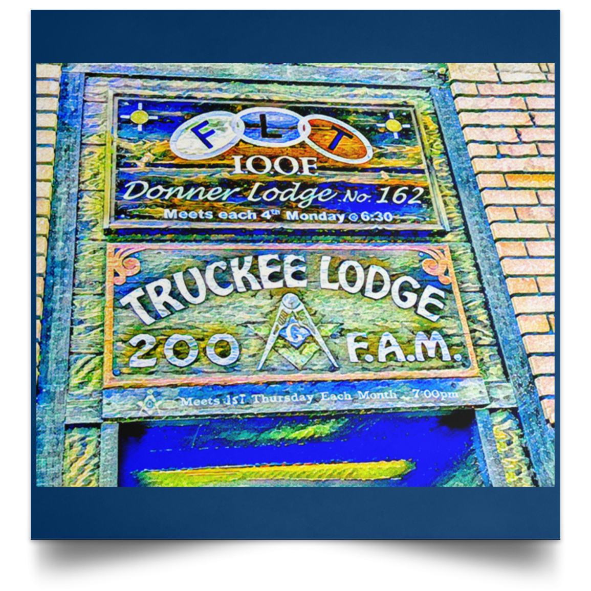 Satin Poster Square Truckee Lodge (Blue theme) Royal / 16 x 16 Poster (2177300922468)