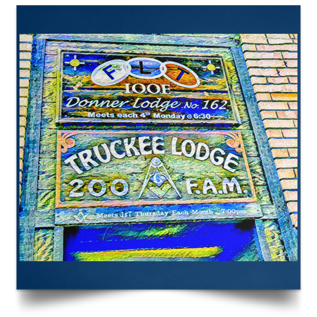 "Satin Poster Square ""Truckee Lodge"" (Blue theme)"