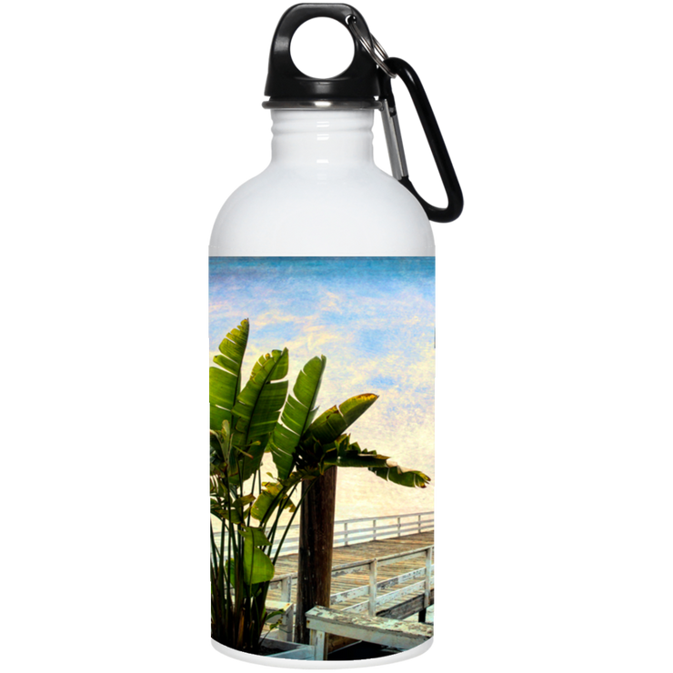 Stainless Steel Water Bottle 20oz Beach Sign White / One Size POD