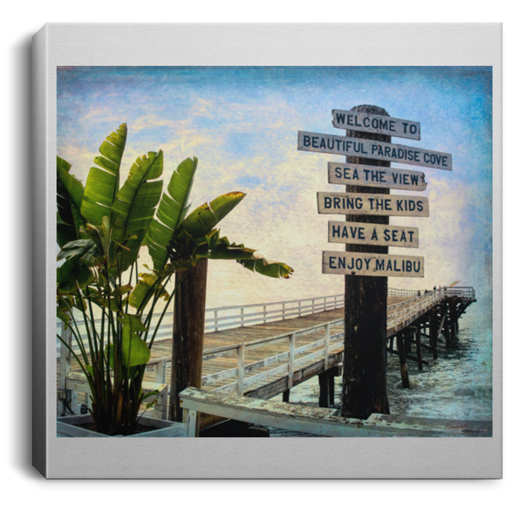 Canvas Print Beach Sign Square Canvas Print