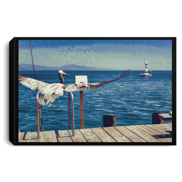 Canvas Print The Pelican and the Sailboat Canvas Print