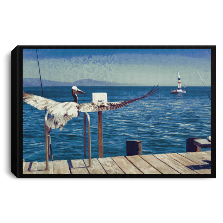 "Canvas Print ""The Pelican and the Sailboat"""