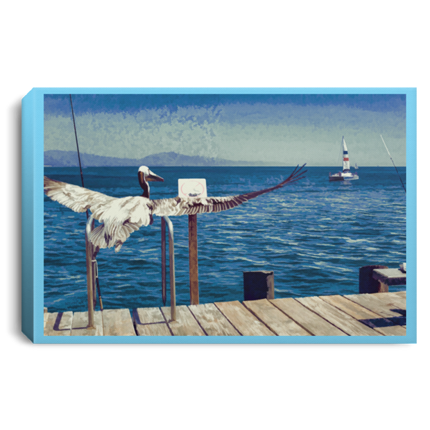Canvas Print The Pelican and the Sailboat Canvas Print (1911063183460)