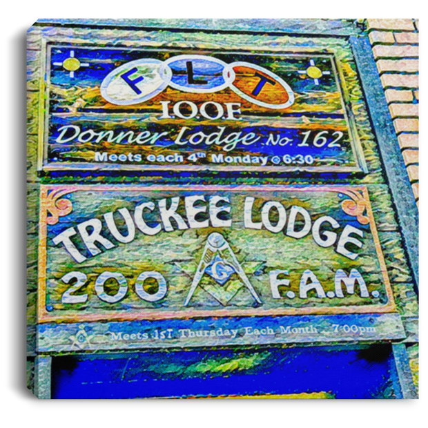 Canvas Print Truckee Lodge (Blue Theme) White / 8 x 8 Canvas Print