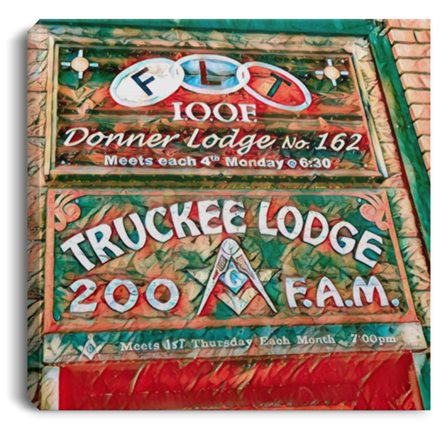 Canvas Print Truckee Lodge (Green theme) White / 8 x 8 Canvas Print (2177223983204)