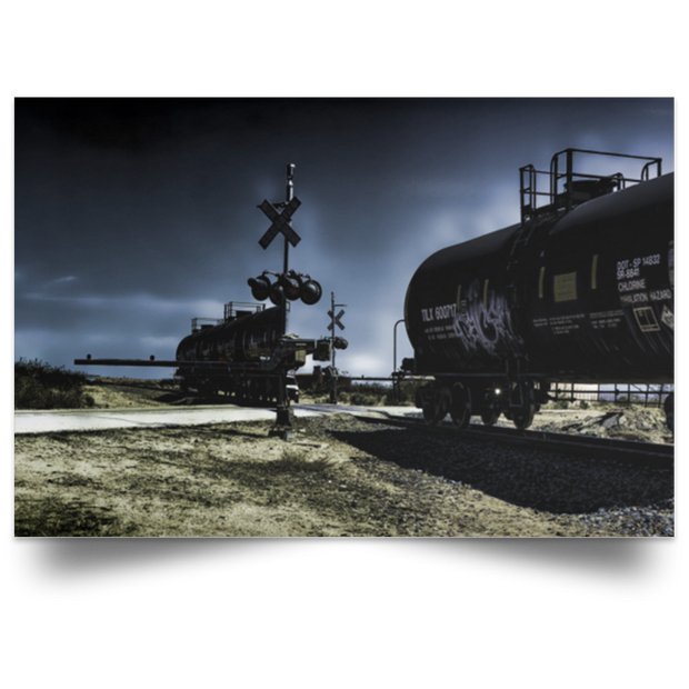 Satin Poster Ghost Train at Night White / 18 x 12 Poster