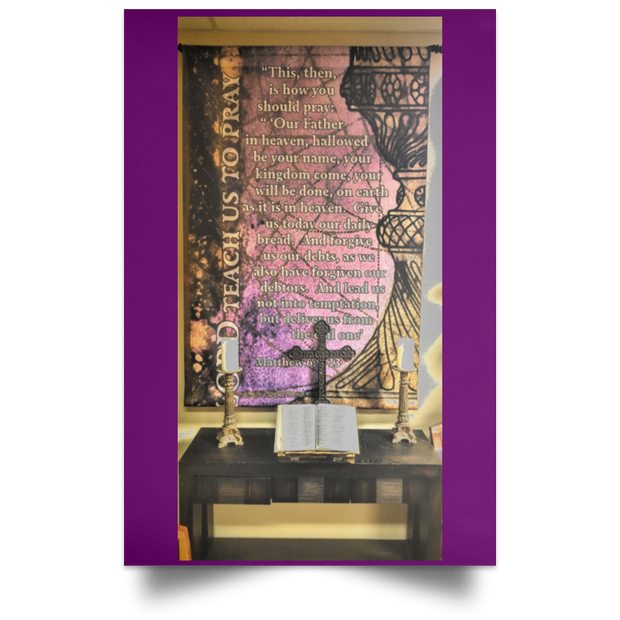 Satin Poster The Lords Prayer Purple / 12 x 18 Poster