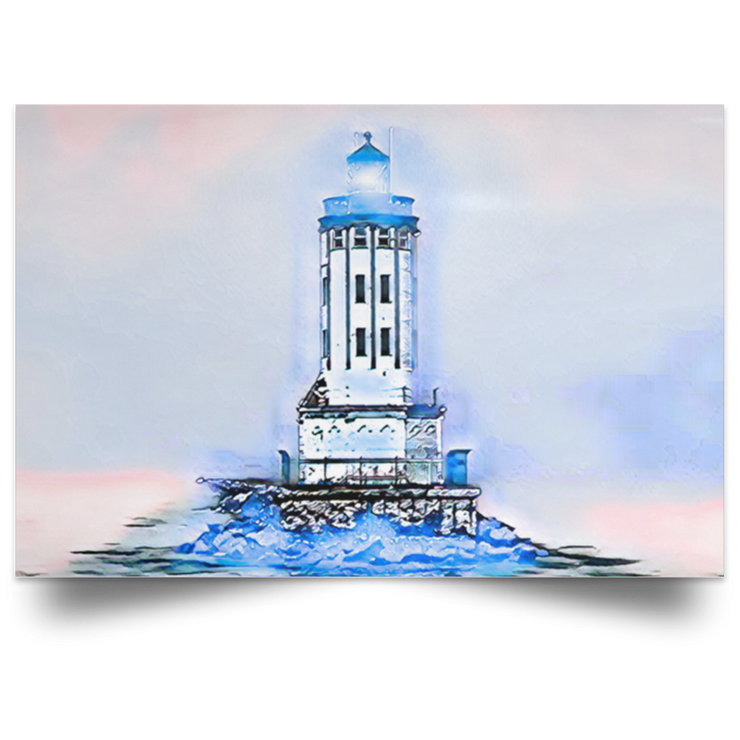 Satin Poster Angels Gate Lighthouse (Light theme) White / 18 x 12 Poster