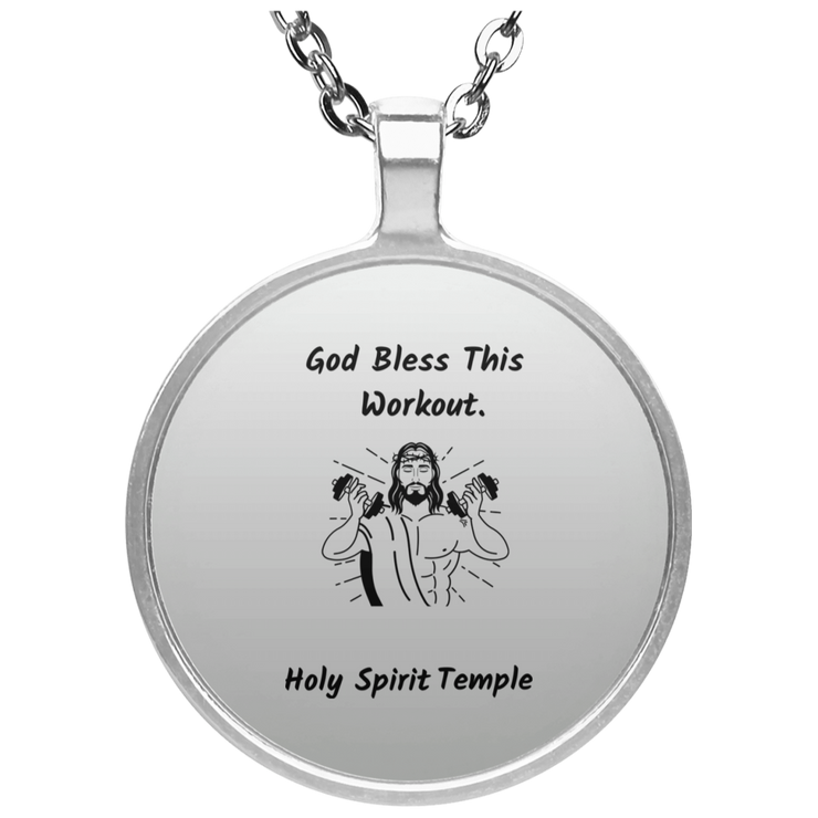 "Circle Silver Plated Necklace""God Bless this Workout"" (3518957879396)"