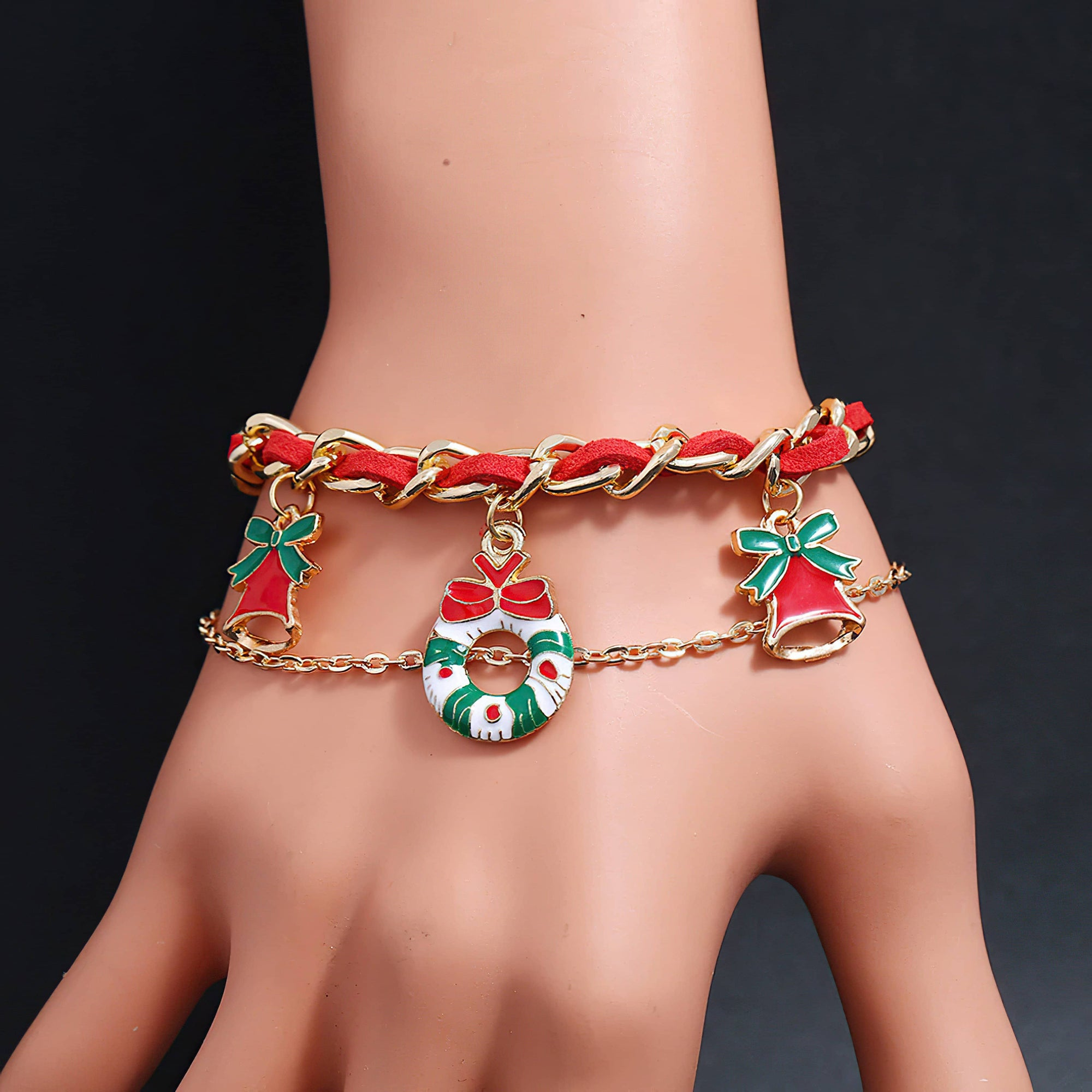 Christmas Bracelet with 3 Charms and 2 Chains - Free Shipping ! (4361868443742)