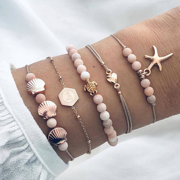 "Multi Layer Bracelet ""Love Starfish Shell Turtle"" Free shipping!"