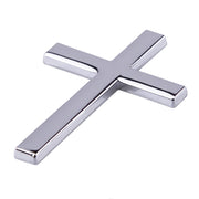 "3D Silver Metal Cross 2 1/4"" Sticker Decal for any Vehicle with Free Shipping in USA"