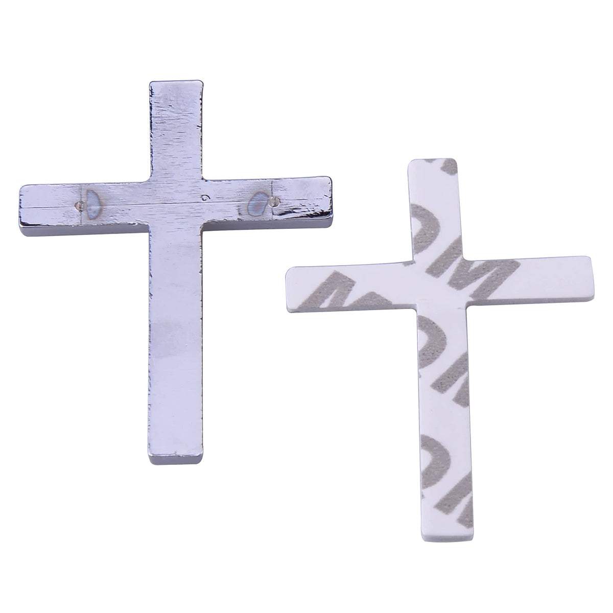 "3D Silver Metal Cross 2 1/4"" Sticker Decal for any Vehicle with Free Shipping in USA (4402421596254)"