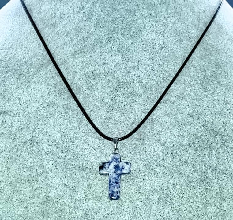 Sodalite Gemstone Cross Necklace (6082985001152)