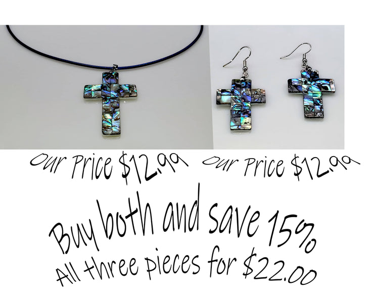 Abalone Necklace and Earrings Combo (4524241813598)