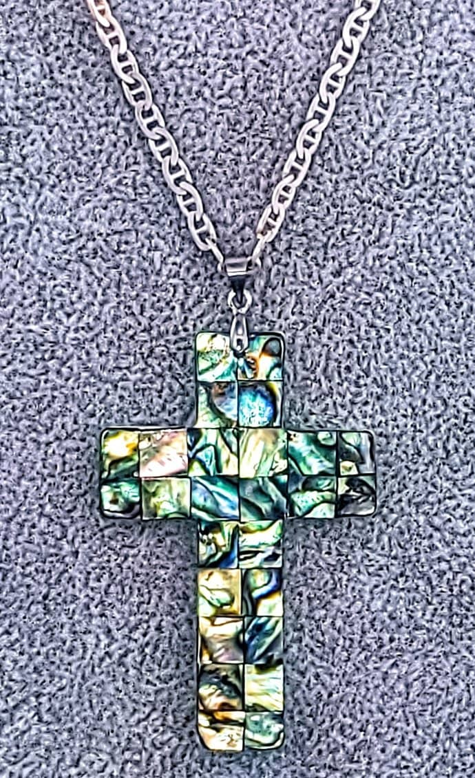 Abalone Cross Necklace Free Shipping (4484487938142)