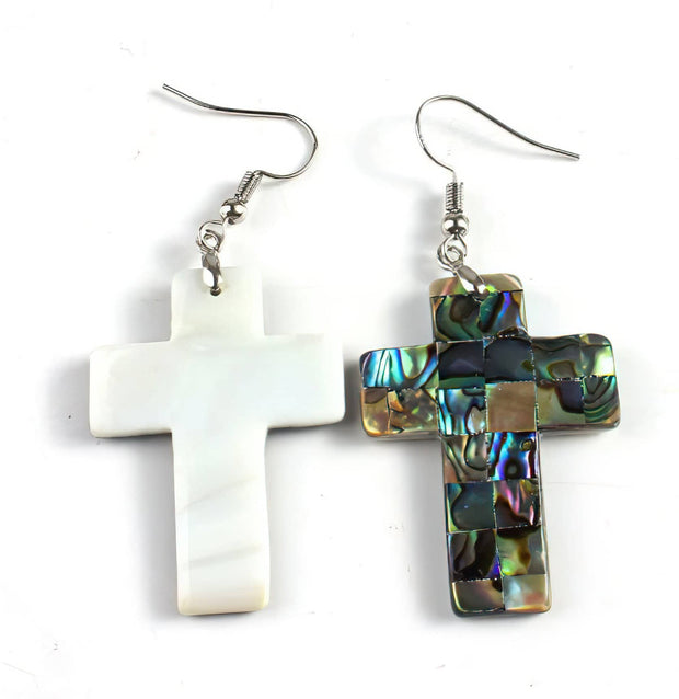 Abalone Cross Earrings (4484417126494)