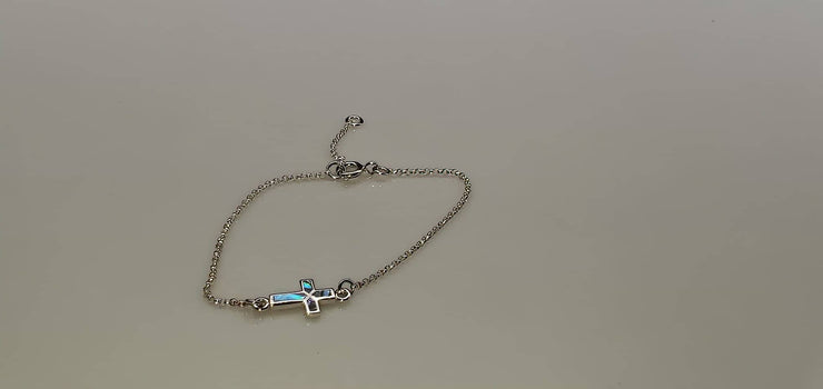 "Bracelet Sideways Turquoise Cross 925 Solid Sterling Silver 6.5""-7.5"" (4649516564574)"