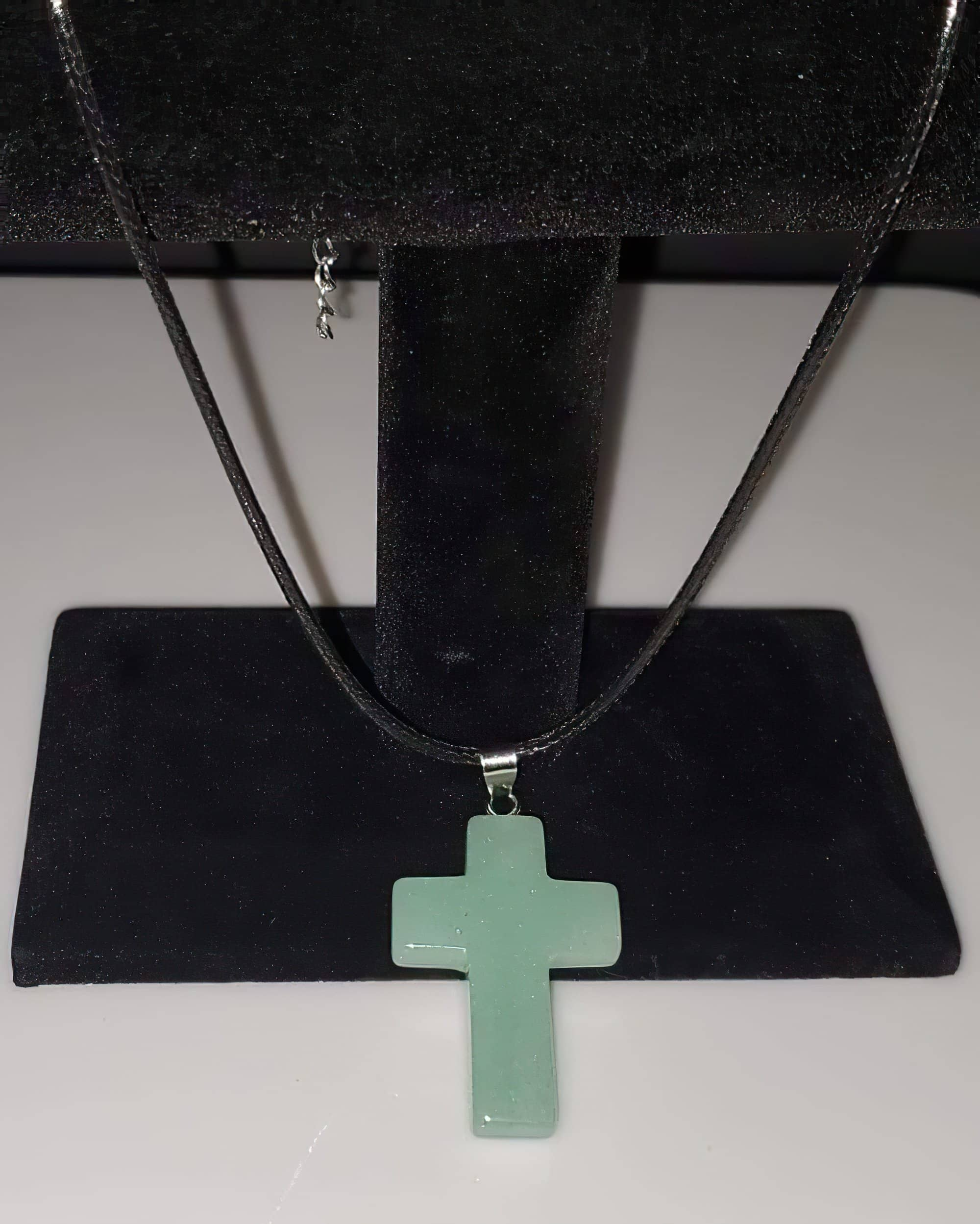 Aventurine Gemstone 1.6 inch Cross Necklace with Black or Green Rope Chain (4395371593822)