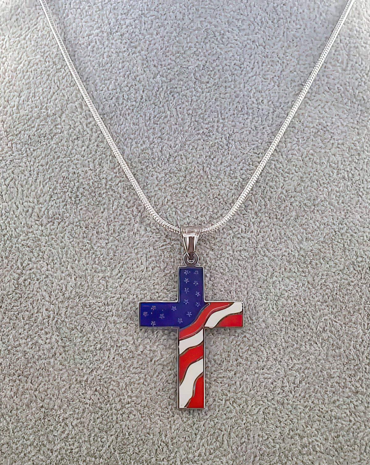 American Flag Cross Independence Day 4th of July Necklace (4598004056158)