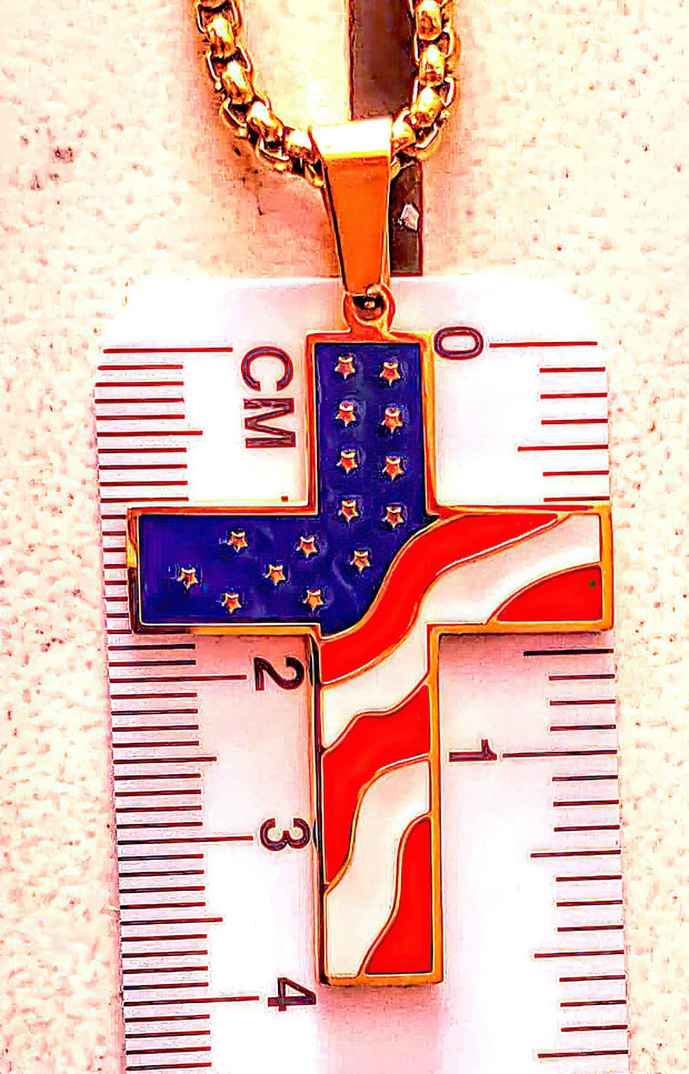 American Flag Cross Gold Color Necklace (4673329889374)