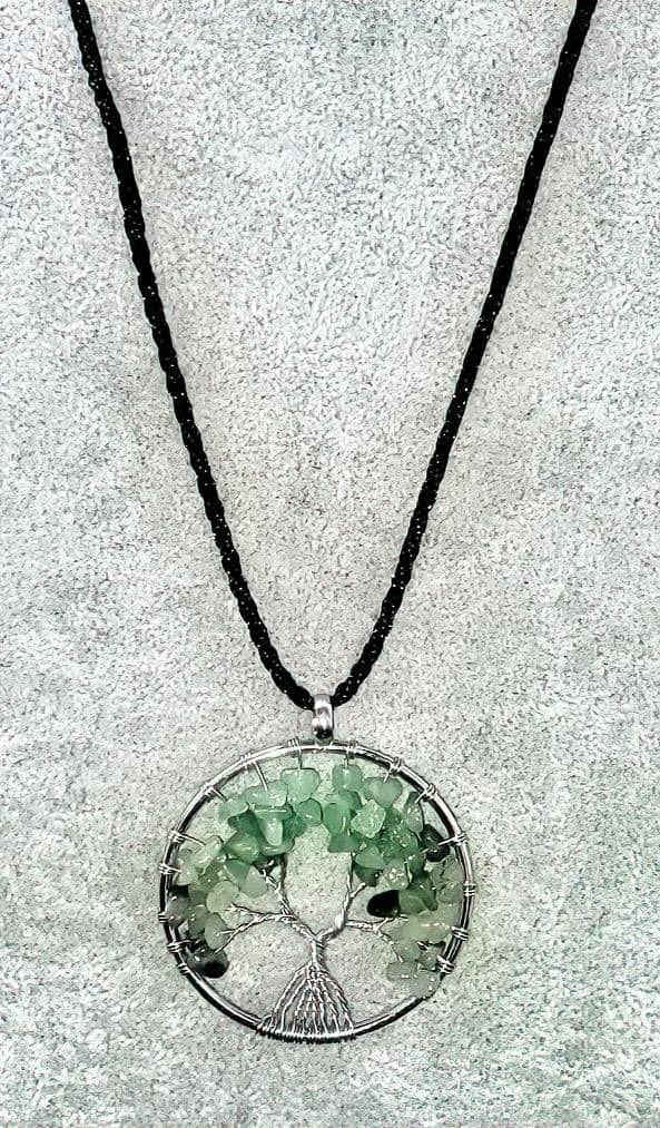 Aventurine Gemstone Tree of Life Necklace Free Shipping!