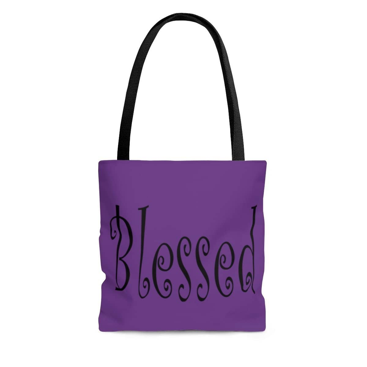 "AOP Tote Bag Purple ""Blessed"" Printed on both sides in 3 Sizes (3471136653412)"
