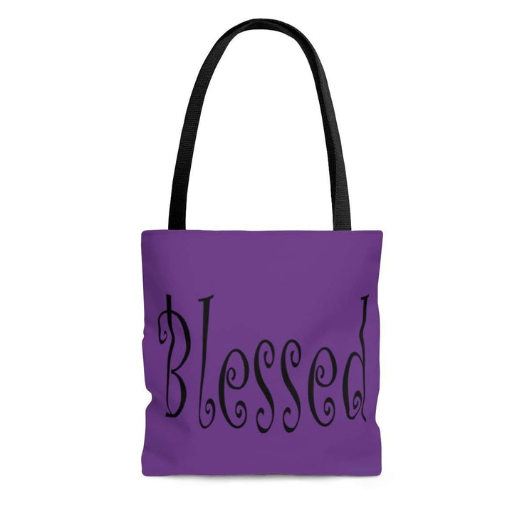"AOP Tote Bag Purple ""Blessed"" Printed on both sides in 3 Sizes"