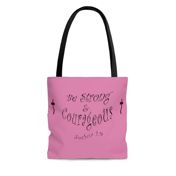 "AOP Tote Bag ""Be Strong & Courageous"" in 3 Sizes"