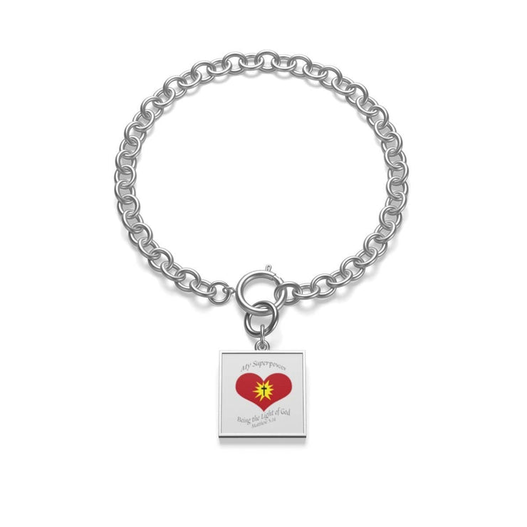 "Chunky Chain Sterling Silver  Bracelet ""Superpower"" in Indico Coin or Indigo Tile (3515974189156)"